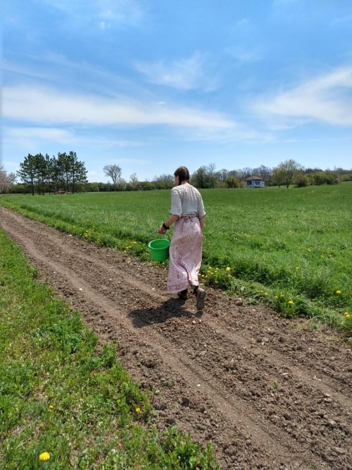 Dayna walking in Field